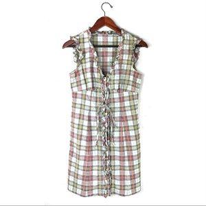Nanette Lepore dress plaid button down ruffles 6